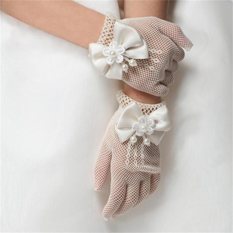 Royal Style luxury flower girls party gloves waist flowers bow decoration childrens little girl princess manner vintage gloves(China (Mainland))