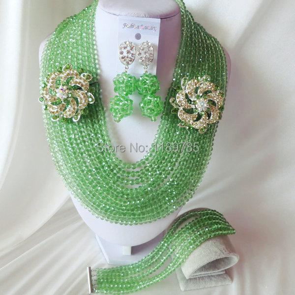 Fashion Nigerian African Wedding Beads Jewelry Set ,Crystal Necklace Bracelet Earrings Set A-2773<br><br>Aliexpress