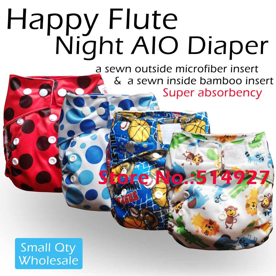 Happyflute onesize baby cloth diaper,Night AIO, velcro and snap version, with sewn in inserts<br><br>Aliexpress