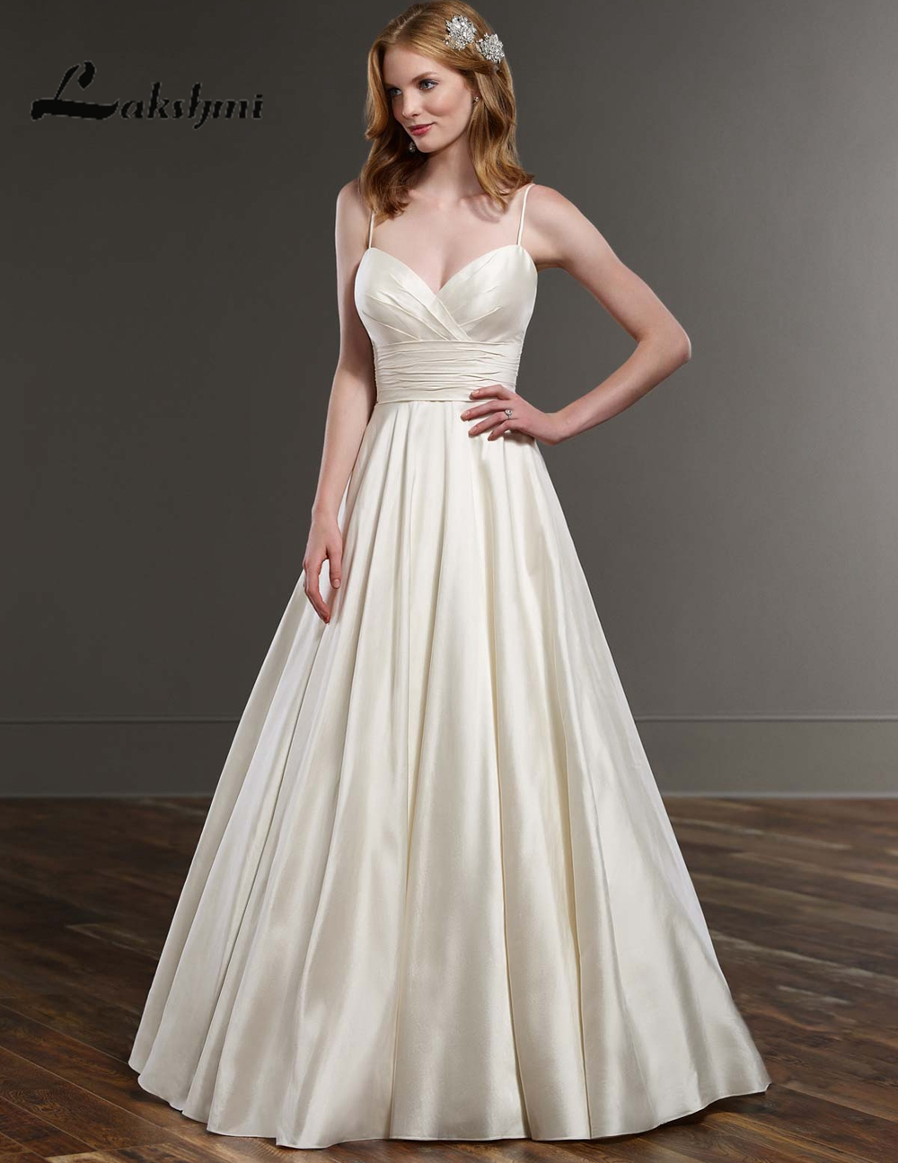 Simple Spaghetti Straps A Line Taffeta Wedding Dresses