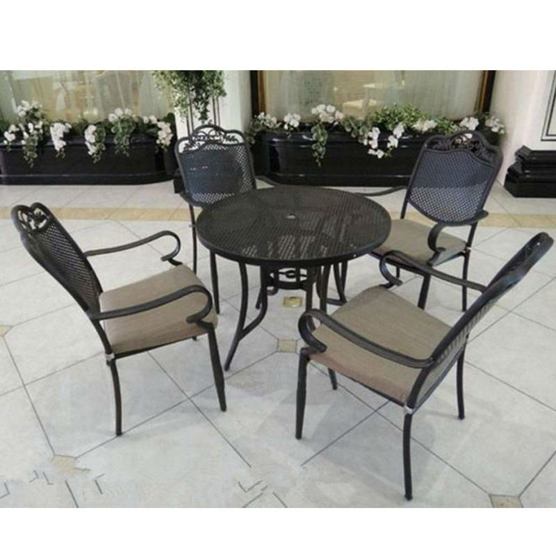 Outdoor patio furniture wrought iron tables and chairs for Deck table and chairs