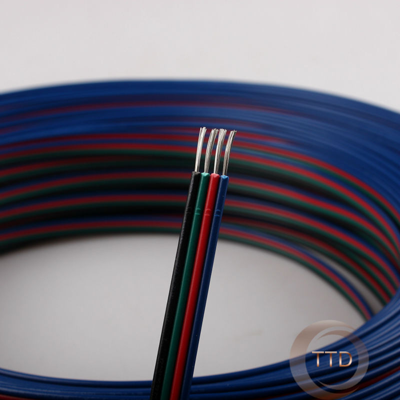 1m 2m 3m 4m 5m 20m 50m 20AWG, 4pin RGB cable, PVC insulated wire, Electric cable, LED cable, Free to choose the number of meters(China (Mainland))