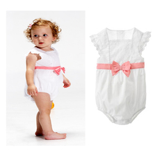 2015 New Baby romper with Bow Lovely Cotton baby Jumpsuit Romper   Lace pima cotton madison Baby suits pique cotton(China (Mainland))
