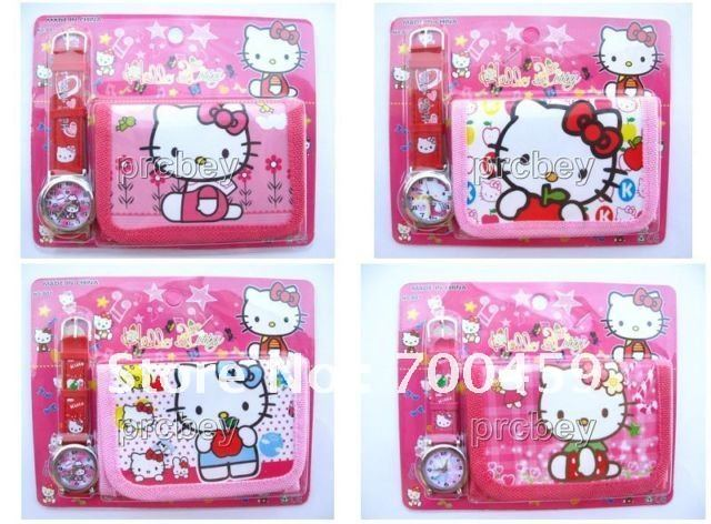 New Lot 10 setsThe Hello Kitty kids part Set watch Wristwatch and wallet purse