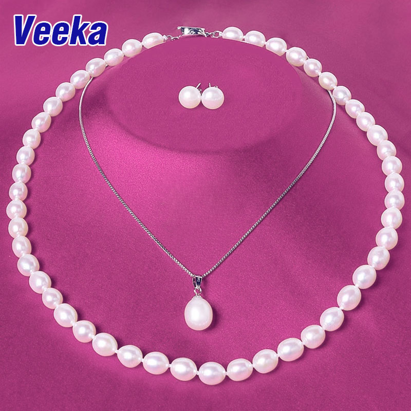Vsilver jewelry sets natural freshwater pearl necklace set stud earrings 925 sterling silver necklace pendants pearl jewelry(China (Mainland))