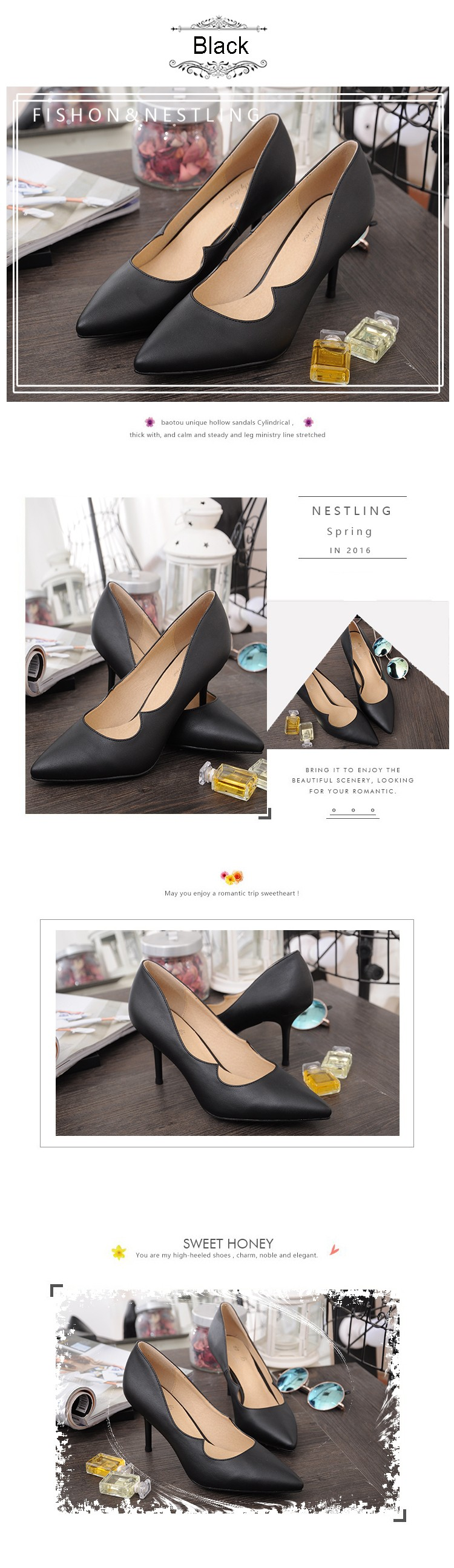 New 2016 Spring High Quality Leather Party Shoes Sexy Pointed Toe Thin High Heels Women Office Career Shoes Woman Pumps D35
