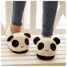 Hot On Sale Cute Lovely Cartoon Indoor Panda Face Slippers Home Anti-slip Lover Winter Household Therma plushl Shoes(China (Mainland))