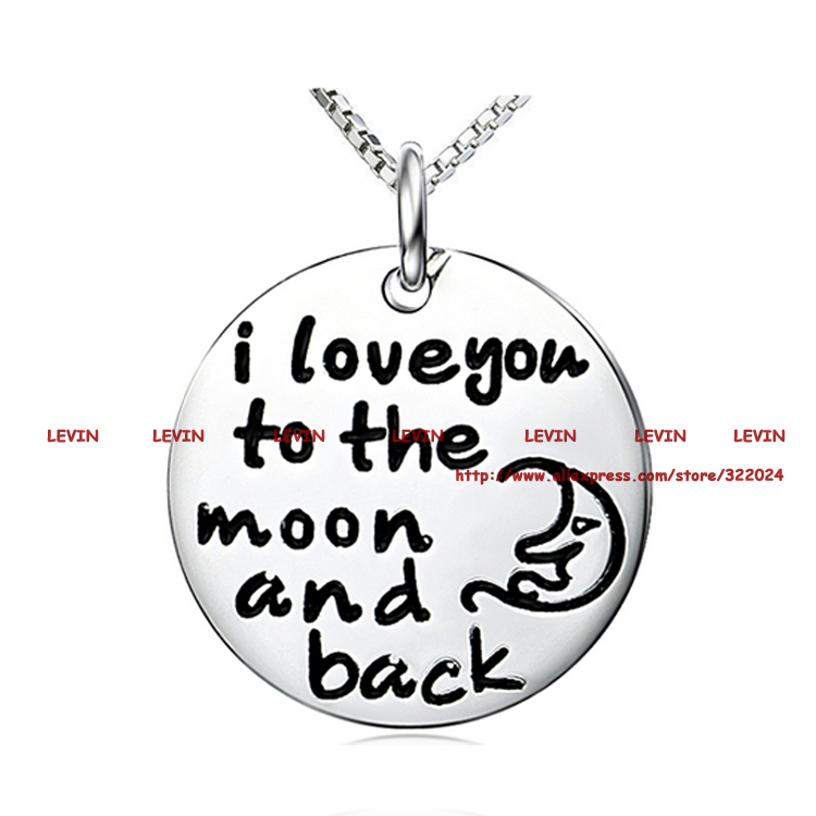 Fashion I Love You To The Moon and Back Silver Circle Pendant Necklace Box Chain Women Girls Gift Jewelry #LN912(China (Mainland))