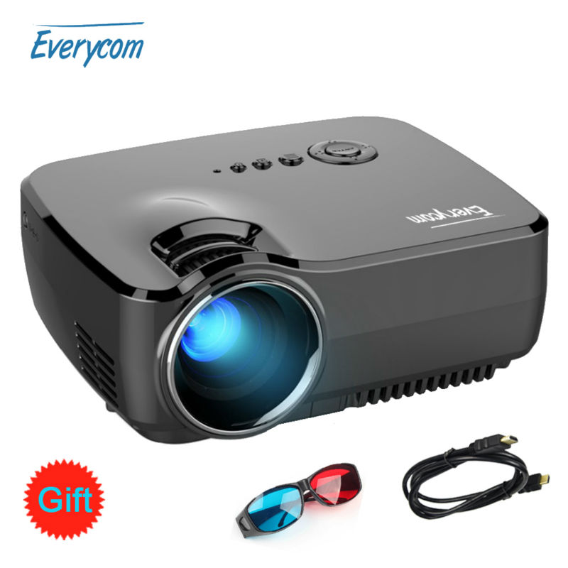 Everycom Projector 1200 Lumens Support 1920x1080P Analog TV LED Projector MINI beamer for Home Cinema G90 Dual HDMI Free Cable(China (Mainland))