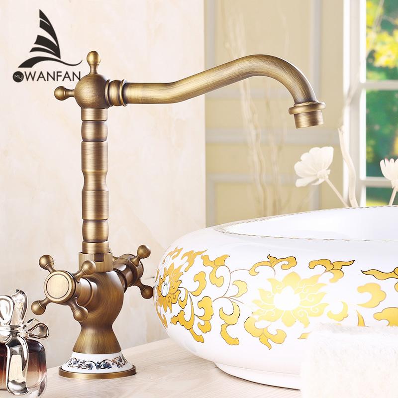 Free shipping Antique Bronze Finish 360 Degree Swivel Brass Faucet Bathroom Basin Sink Mixer Bath& kitchen taps Faucet H-15(China (Mainland))