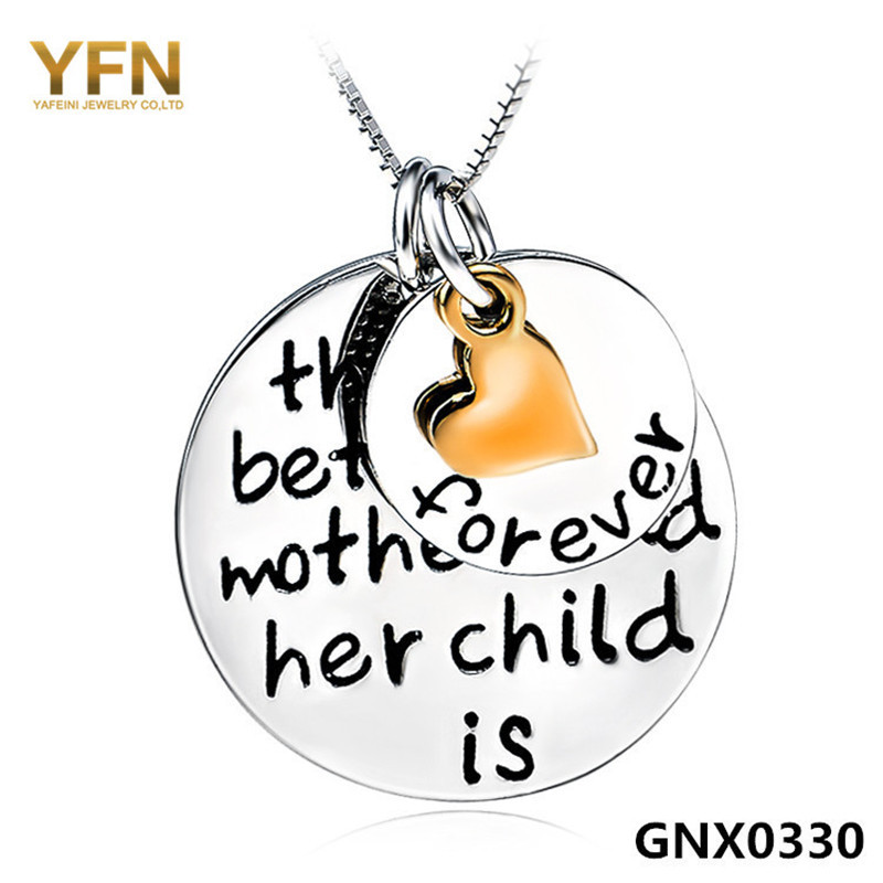 100% Real Pure 925 Sterling Silver Charms Necklace Mother Child Love Jewelry Collar Necklace Fashion Jewelry For Women GNX0330(China (Mainland))