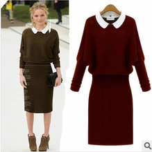 Brand Quality 2014 Autumn/Winter Women Fashion Batwing Sleeve Long Woman  Pullover Slim Casual Knitted Sweater Dress(China (Mainland))