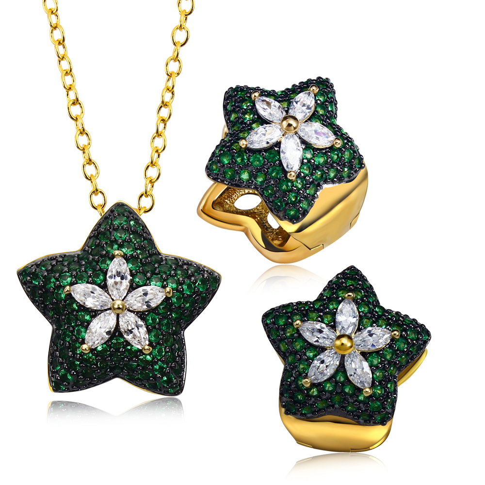 Party accessories green star women Jewelry Sets gold plated with Cubic zircon 2pcs sets ( necklace & earring ) Free shipment(China (Mainland))