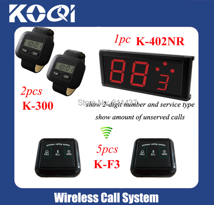 numbers for restaurant tables K-402NR display+ 2pcs K-300+5pcs K-F3 call button for Coffee shop 433.92MHZ DHL free shipping(China (Mainland))