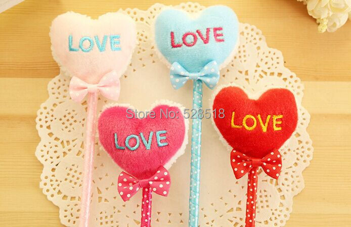 10pcs/lot School Stationery Love Shape Fluffy Pen Candy Color Plastic Ball-point Pen(China (Mainland))