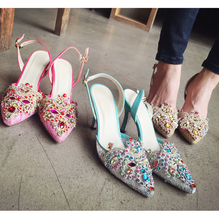 2015 new summer fashion Rhinestone sandals female high heeled fine with popular sexy Rome shoes