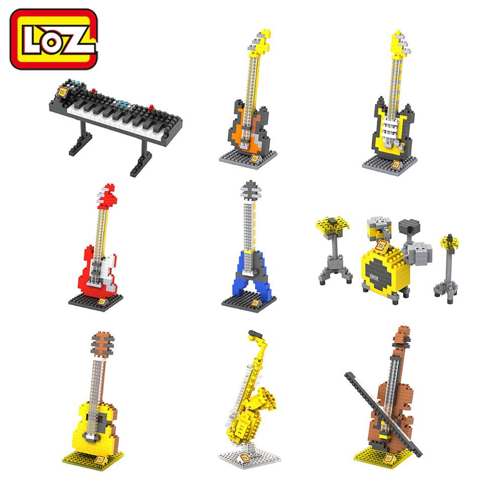 LOZ Musical Instruments Series Diamond Building Blocks DIY Toy Kids Children Educational Guitar Keyboard Violoncello Drum set(China (Mainland))