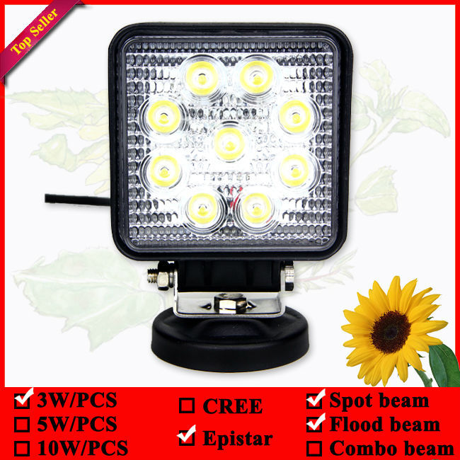 Square 4inch 27w led work light used for Off Road ATV Boat 4WD TRUCK CAR(China (Mainland))