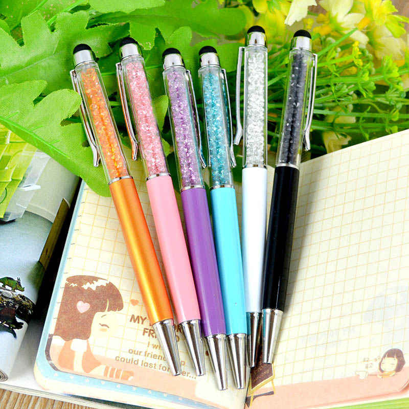 1Pcs Cute Crystal Pen Diamond Ballpoint Pens Stationery Ballpen 2in1 Crystal Stylus touch pen Free Shipping(China (Mainland))
