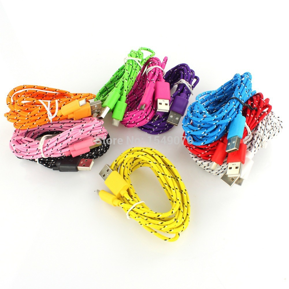 1M Hot Selling Braided Fabric Micro USB Cord Data &Sync Charger Cable For iPhone 6 6Plus 5 5S 5C Tablet PC Wholesale