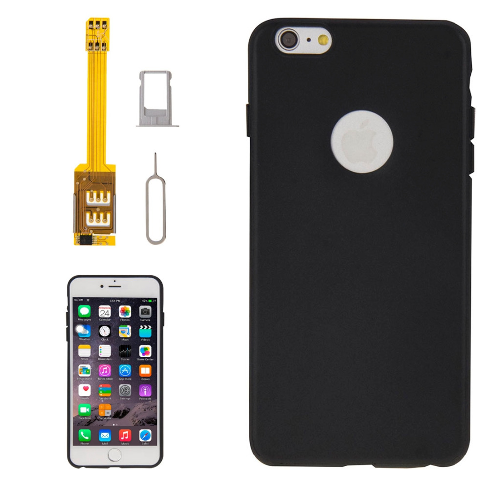 4 in 1 (Dual SIM Card Adapter + TPU Case + Tray Holder + Sim Card Tray Holder Eject Pin Key) for iPhone 6 Plus(China (Mainland))