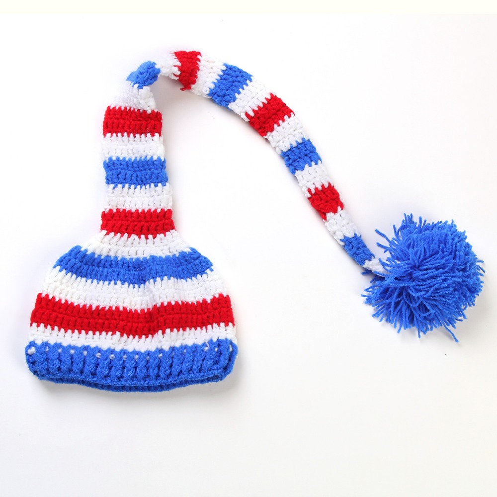 Fashion Unisex baby Cute Colourful Stripes Crochet Knitted Photography Baby Hat with Long Braid SY50(China (Mainland))