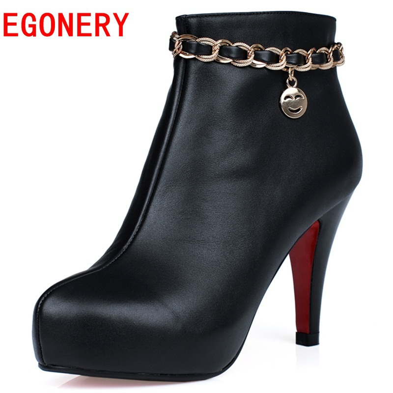 2015 new spring autumn comfort shoes high heels hit color black zipper thin sequined women ankle