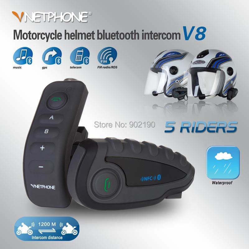 Free shipping New remote control 5 NFC Near Field Communication duplex BT wireless intercom motorcycle helmet bluetooth headset(China (Mainland))
