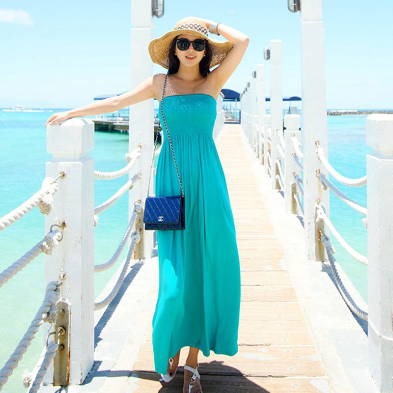 2015 summer women 39 s long dress turquoise blue and black maxi beach sundress cotton roupas. Black Bedroom Furniture Sets. Home Design Ideas