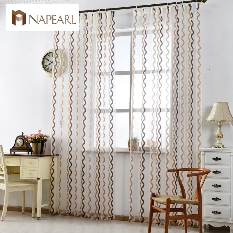 Stirped tulle curtains modern window treatments white sheer fabrics ready made jacquard kitchen door curtains balcony short(China (Mainland))