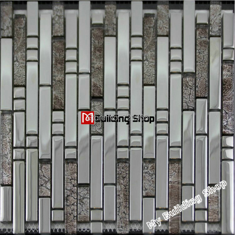 Metallic moaic tiles 3D Glass mosaic tile kitchen backsplash SSMT137 glass mosaic mother of pearl stainless steel moaic tiles<br><br>Aliexpress
