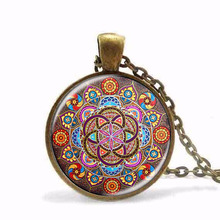 Buy New Steampunk necklace mandala necklaces chakra pendant OM jewelry women glass cabochon pendants Zen gifts jewellery vintage for $0.93 in AliExpress store