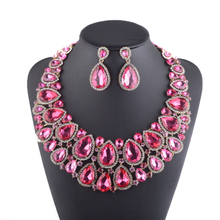Luxury Big Rhinestone Necklace earrings Pink waterdrop Crystal Bridal Jewelry Set Weding Dress Jewelry Party Prom Accessories(China (Mainland))