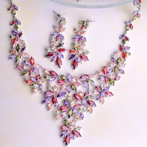 Fashion Luxurious Mona Lisa Necklace Earring Jewelry Sets Shiny Brand CZ Diamond Gold Jewellery Set Bridal Best Colar Neclace UK