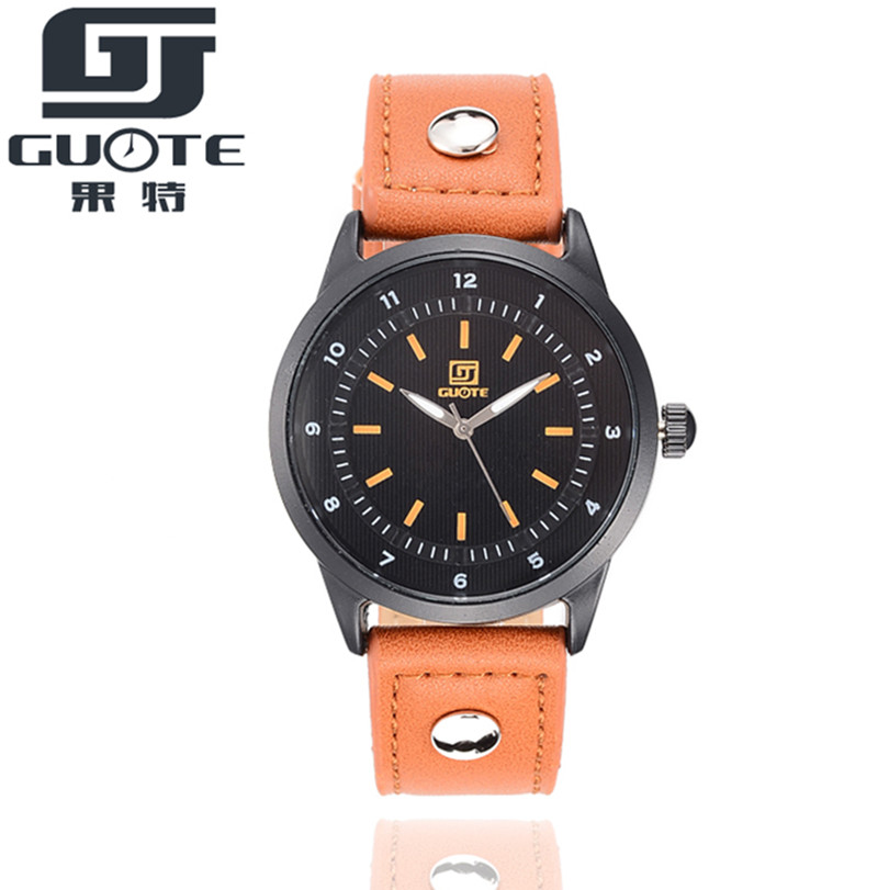 GUOTE Brand New Luxury Fashion Sport Watch Men Vintage Style Leather Strap Casual Quartz Wristwatch Popular Out-door Clock <br><br>Aliexpress