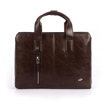 2016 NEW Men's Leather Briefcase Maletines Vintage briefcase leather Laptop Computer bag Zipper handbag Messenger Shoulder Bag(China (Mainland))