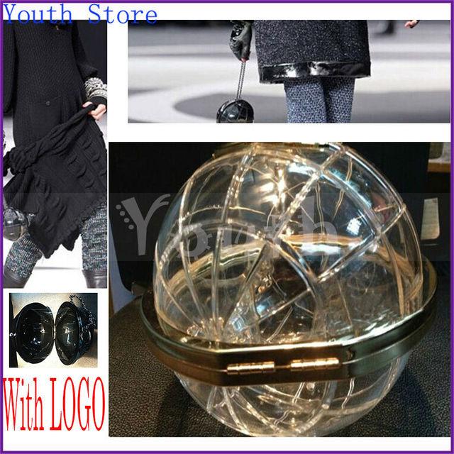 Компактный мяч форма вечернее мешок прозрачный акрил глобус мешок пластик сумочка C марка глобальный сцепление с известным Logo - A005