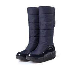 Kadın Kış Kar Botları PU deri aşırı diz uyluk düz platformu uzun çizmeler siyah kalın kürk Botları kadın 2019 ayakkabı(China)