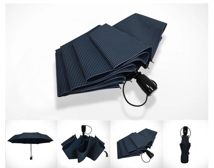 061b6edf5d7 Korean-style striped fully automatic three folding adult brand black  coating UV parasol Sunny   Rain umbrella rain women - us166