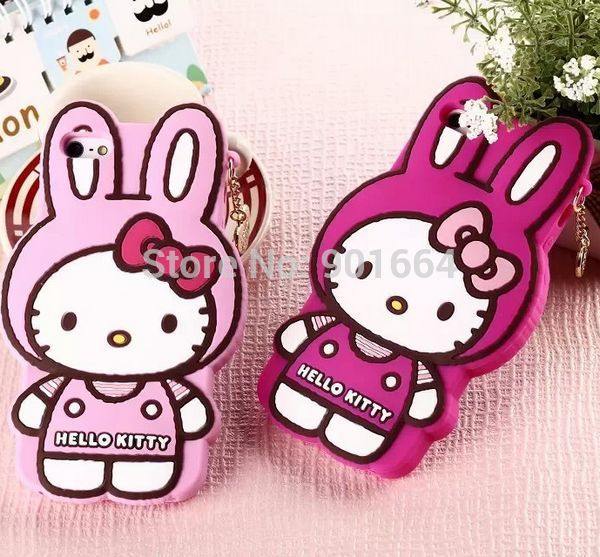 2014 New Arrival Cute 3D Hello Kitty Soft Rubber Phone Case Cover for iPhone 4 4S 5 5S + Pendant Free shipping 5pcs/lot(China (Mainland))