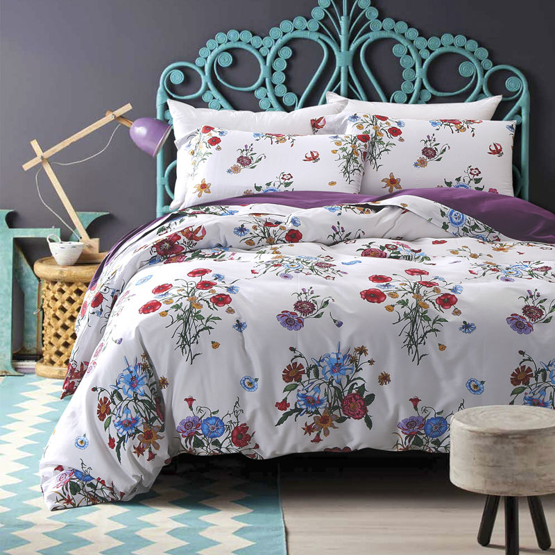 fresh style floral print bedding sets white linens Egyptian cotton Queen/Full/Double/King size duvet cover set(China (Mainland))