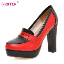 Size 33-43 Brand Color Mixed Square High Heels Women Party Wedding Shoes Fashion White Red Platform Pumps K00063(China (Mainland))