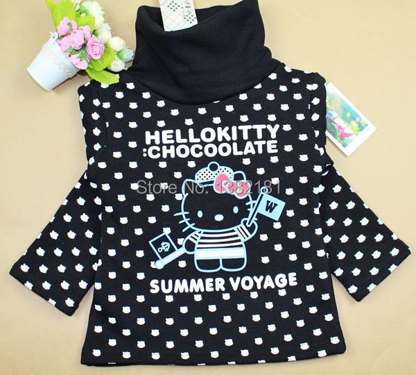 Hot sale!!! 2016 spring/autumn /winter new arrival Girls thicken high collar hello kitty shirt /kids fashion warm outwear .(China (Mainland))