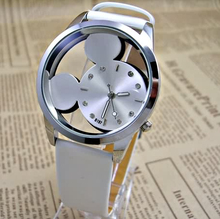 Fashion Mickey Women Watches 2016 quartz casual transparent hollow dial leather wristwatches women dress watch relogio feminino