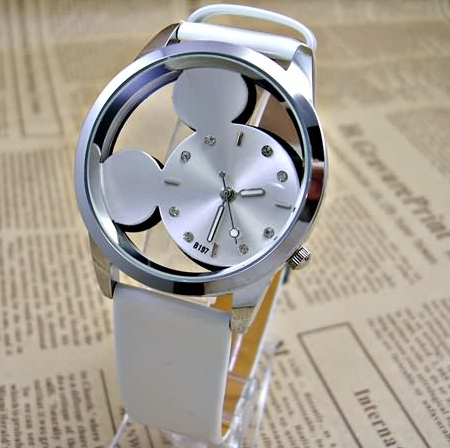 Fashion Mickey Women Watches 2015 quartz casual transparent hollow dial leather wristwatches women dress watch relogio feminino(China (Mainland))