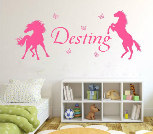 Horses & Butterflies Personalized Girls some name Vinyl Wall Art Decal Kids Nursery label wallpaper Home Decor(China (Mainland))