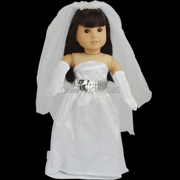 New wedding dress doll clothes for 18 american girl for American girl wedding dress