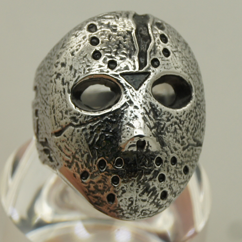 men friday the 13 jason hockey mask 316L forged stainless steel ring(China (Mainland))