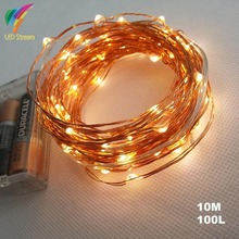 10M 100 led 3 AA Battery Powered Decorative LED Copper Wire Fairy String Lights lamp for Christmas, Holiday, Wedding and Parties