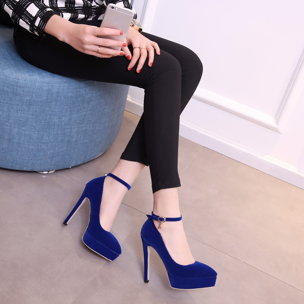 Women Summer Flock Buckle Fashion Thin High Heels 2016 New Comfortable Pointed Toe Big Size 40 41 42 43 Lady Ankle Shoes 6